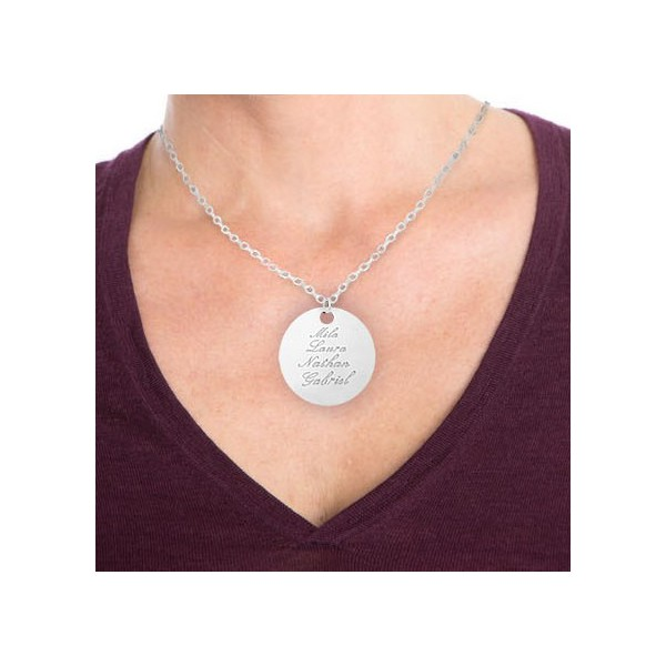 """Engraved Large Charm 1.4"""" (3.5cm) Necklace"""