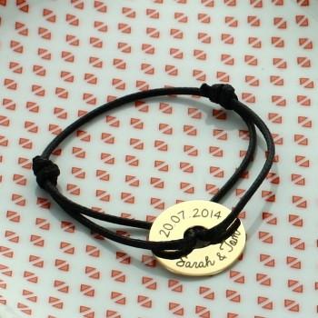 Bracelet cordon jeton personnalisé plaqué or