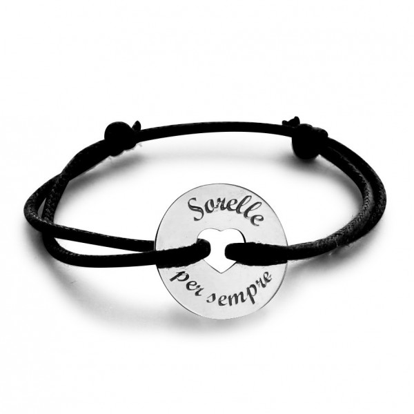 18k Gold Heart-shaped Charm Cord Bracelet