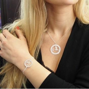 Personalized Silver Stork Bracelet