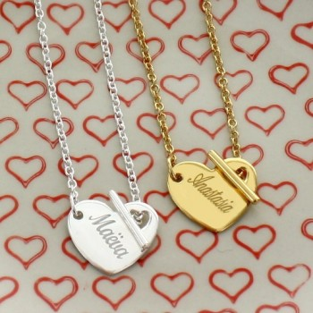 Engraved Heart Necklace with Barrette Clasp