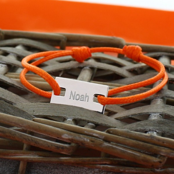 Cord bracelet with Engraved Bar