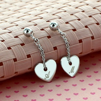 Sterling Silver Engraved Heart Earrings
