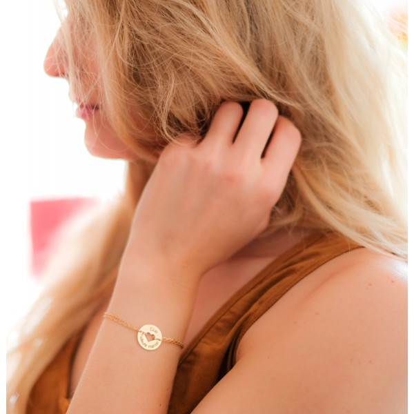 Heart Token Bracelet on 18k Gold Chain