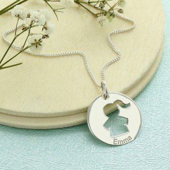 Figurine Necklace in Engraved Circle