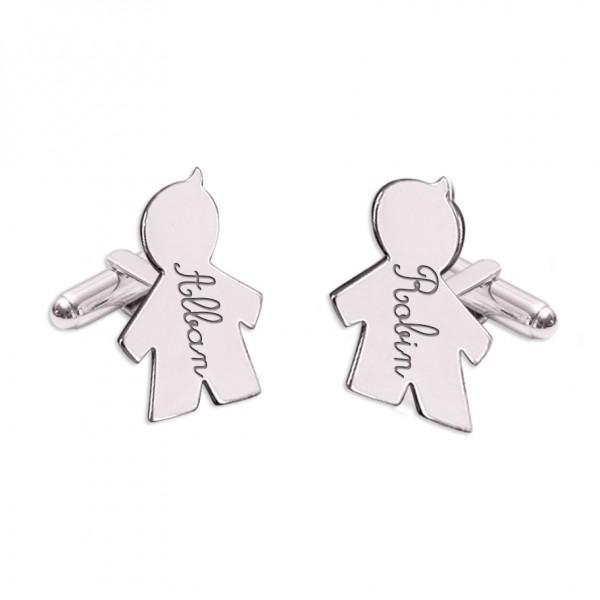 Engraved Figurine Boy/Girl Cufflinks