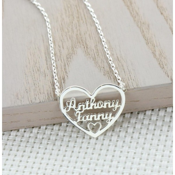 Two (2) Names in a Heart Necklace