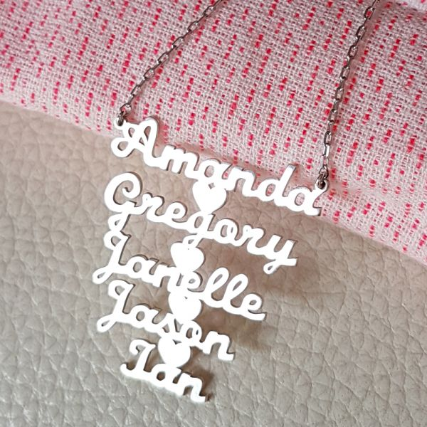 Nameplates and Heart Necklace
