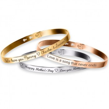 Trio Bangle Bracelets Sterling Silver, Rose Silver and Gold plated Jeweler's Engraving