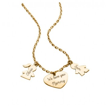 "Necklace ""Family"" with Heart and Figurines"