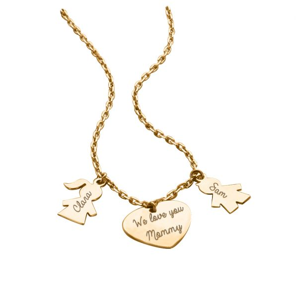 """Necklace """"Family"""" with Heart and Figurines"""