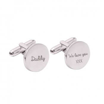 Personalised Round Cufflinks in Silver