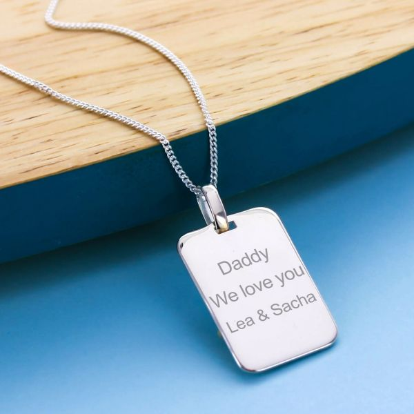 Sterling Silver Pendant Rectangular Tag