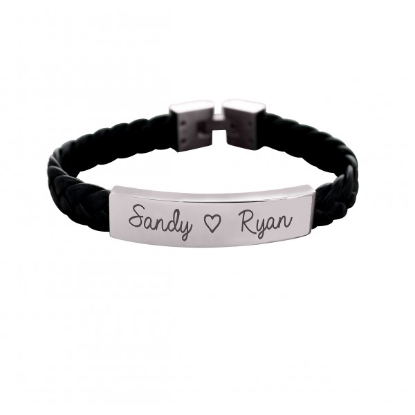 Men's Engraved Steel and Braided Leather Bracelet