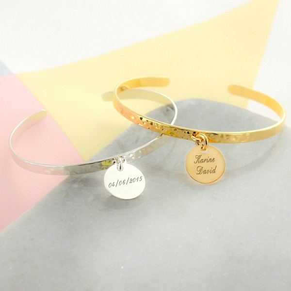 Hammered Bangle with Engraved Charm