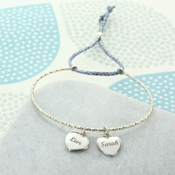 Charm bracelet with Personalised Hearts