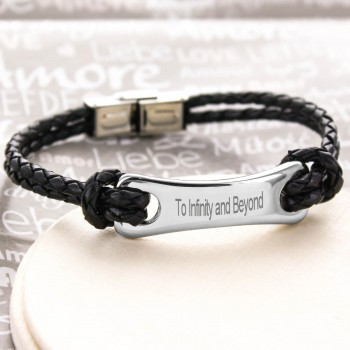 Men's Engraved Steel and Leather Bracelet