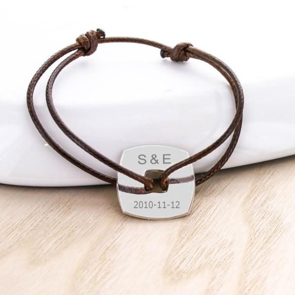 Engraved Square Token Cord Bracelet