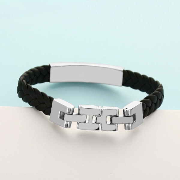 Men S Engraved Steel And Braided Leather Bracelet