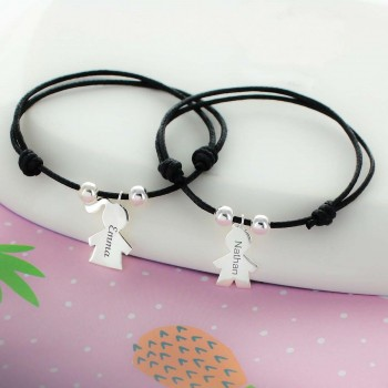 Engraved Cord Bracelet Girl or Boy-shaped Charm