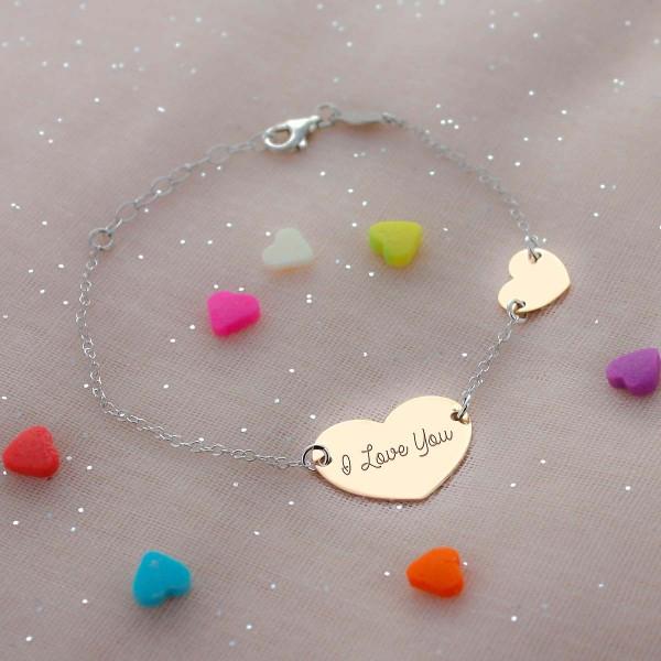 Rose Silver Double Heart Bracelet