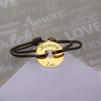 18k Gold Heart-shaped Charm Cord Bracelet