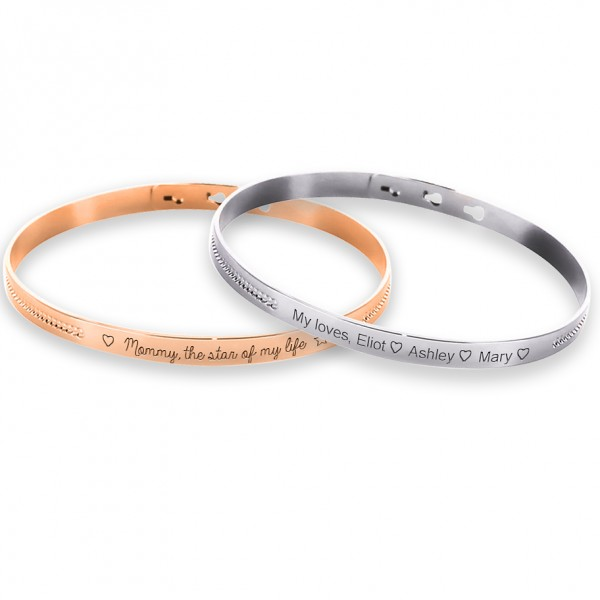 Duo Pearl Bangle Bracelet to engrave