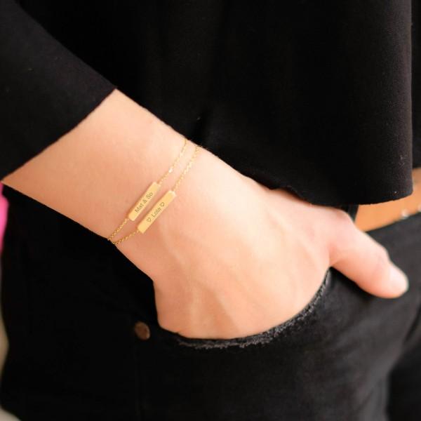 Double Bar Engraved Bracelet
