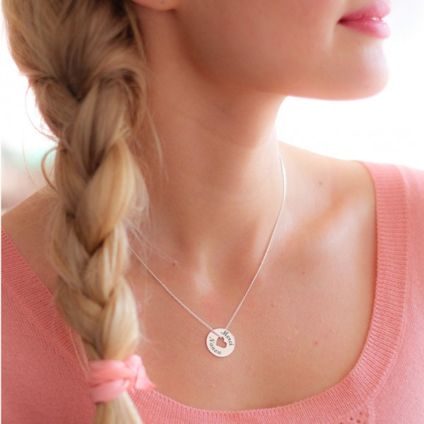 Engraved Heart Disc Necklace