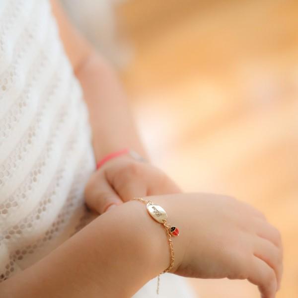 Engraved Ladybug ID Bracelet for Baby