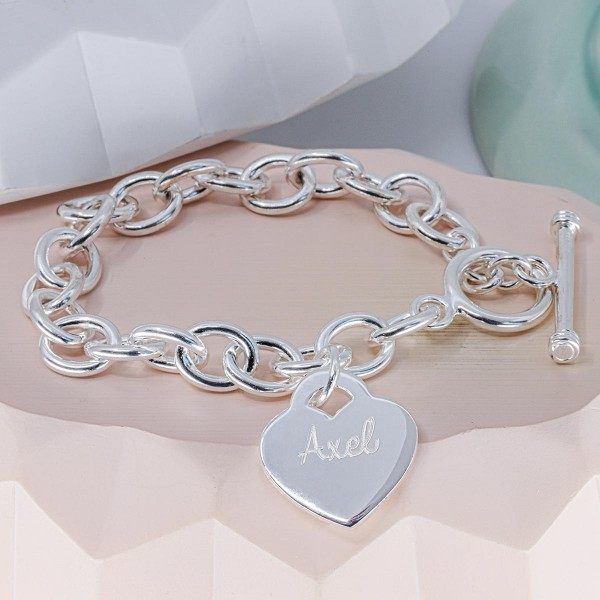 Personalized, Heart bracelet with large links